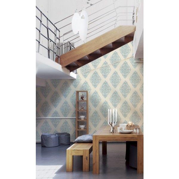 papier peint m daillon bleu blan papier peint around the world d 39 as cr ation papier peint. Black Bedroom Furniture Sets. Home Design Ideas