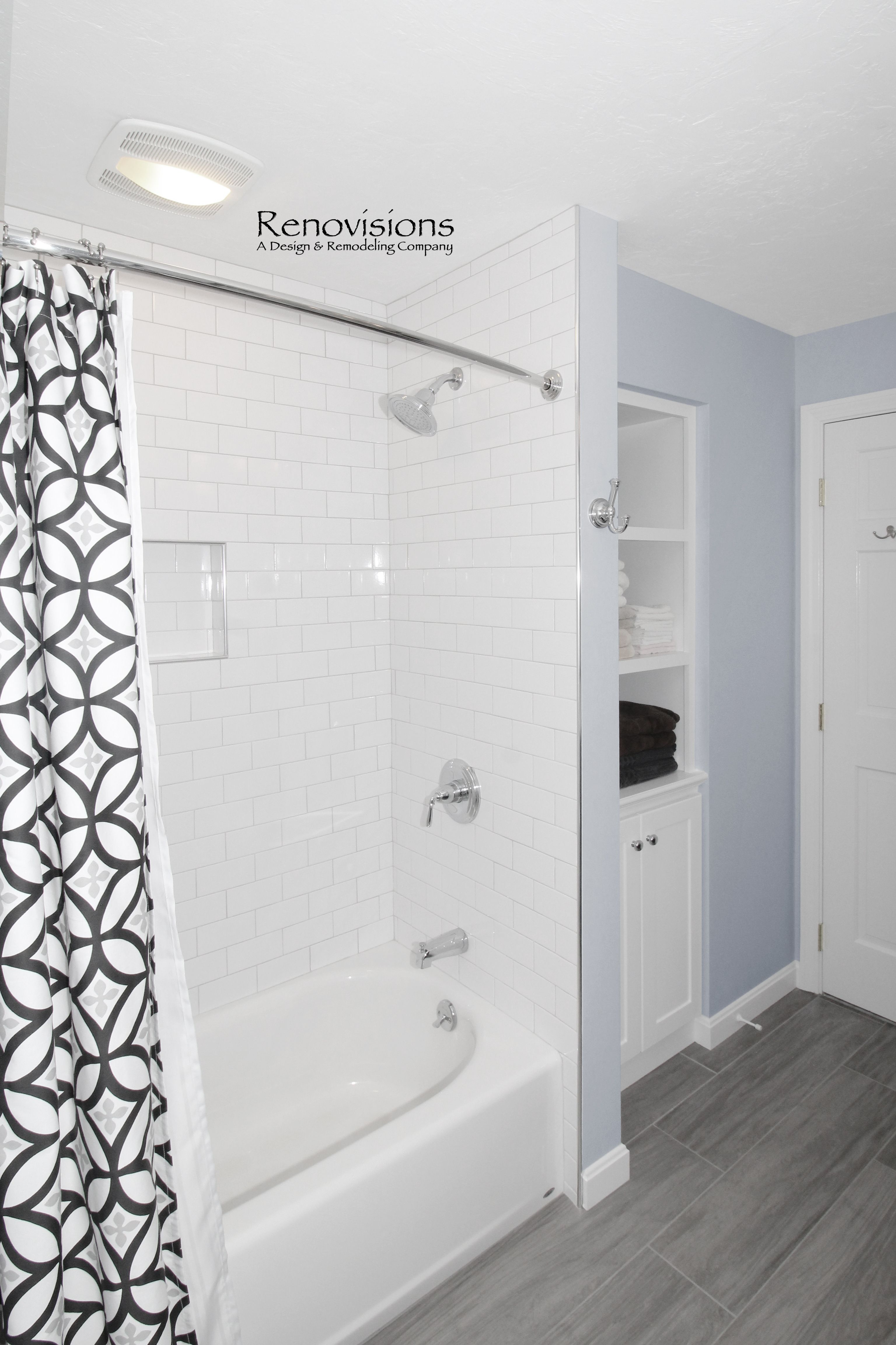 Full bathroom remodel by Renovisions in Norwell, MA. Wood-look ...