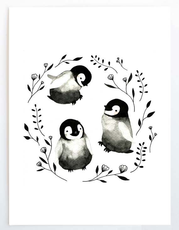 Lámina bebé pingüinos, acuarela, Ilustración, emperador, Animal ...