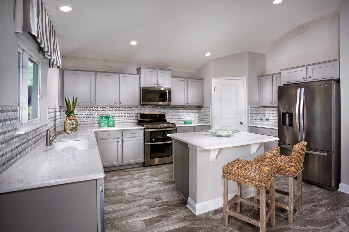 We Are Loving This Fantastic Backsplash Tile By Emser Tile That Gives This Bright Grey Kitchen Some Big Pers Kitchen Interior Interior Design Kitchen Kb Homes