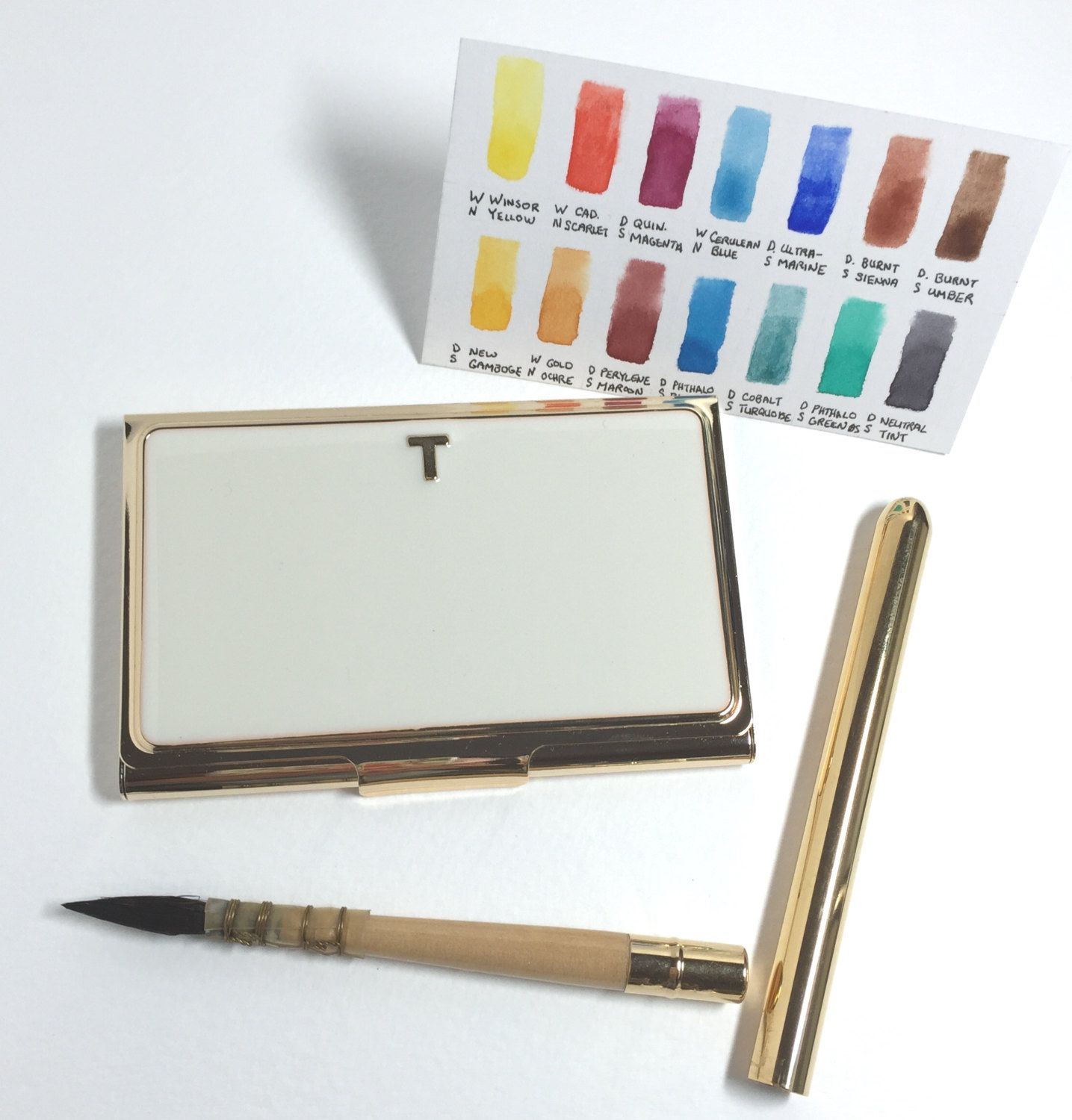 """Kate Spade Watercolor Set in Business Card Holder """"T"""" by jFernweh"""