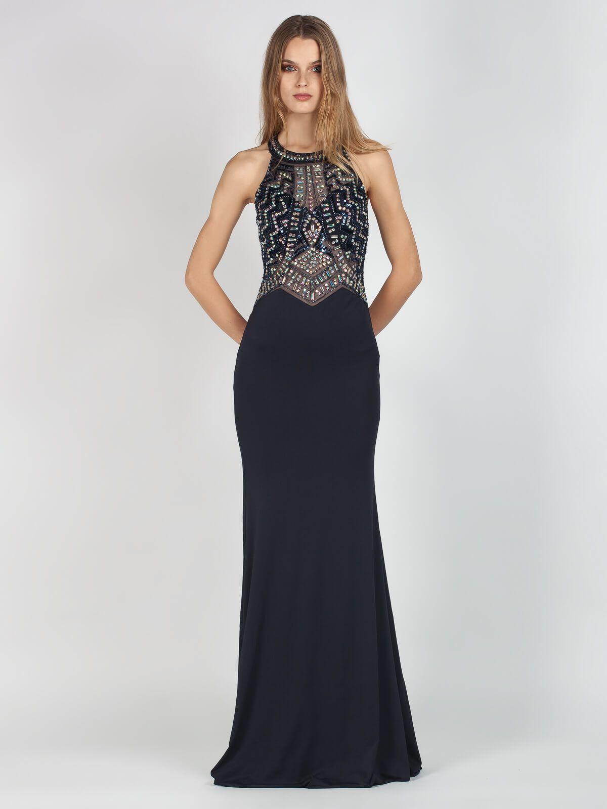 93d76b08d43 Μαύρο Βραδινό Μάξι Φόρεμα με Στρας | Flirt In Fashion | Το φόρεμα ...
