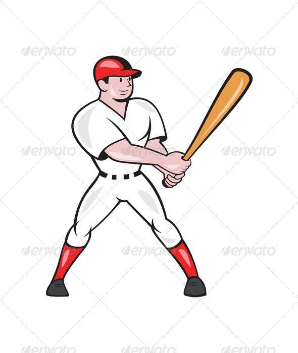 Illustration Of An American Baseball Player Batter Hitter Batting