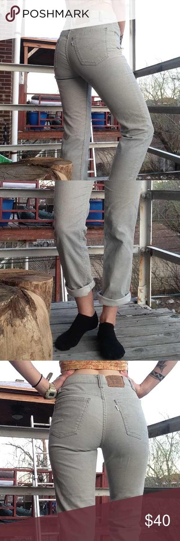 Vintage Corduroy Levi's ✨ These are super trendy right now!! Model is size 4 and around 5'7. Pants have hand stitched hem at the bottom as shown. Greyish-cream color. They say the waist is size 30 but they fit me perfectly and I'm normally a 26 in jeans. Vintage but in good condition. Levi's Jeans