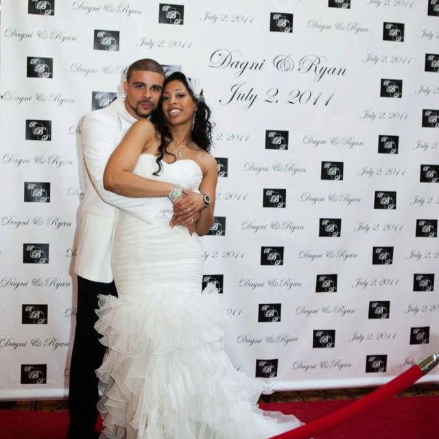 Red Carpet & Back drop w/ couples name & wedding date leading in ...