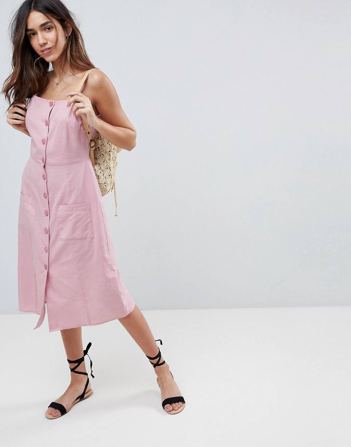 7ab134297 Vestido de verano midi en lino con botones de
