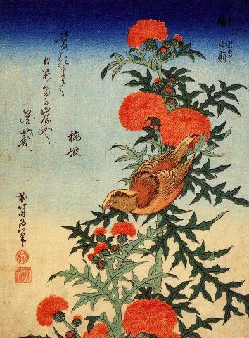 BIRD AND CHYSANTHEMUM by KATSUSHIKA HOKUSAI Reproduction Poster on 200gsm A3 Satin Art Card Stones http://www.amazon.co.uk/dp/B00BKXXA3K/ref=cm_sw_r_pi_dp_OBQ.wb02G78JE