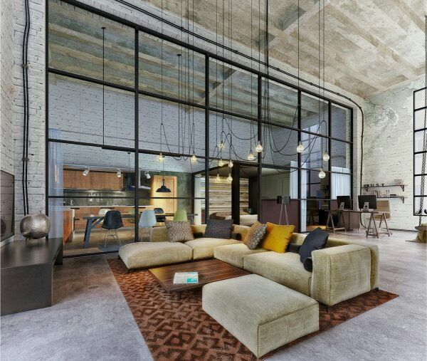 P direito alto projeto de loft sala de estar de luxo e for Stile design