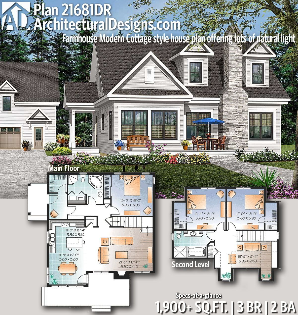 Plan 21681dr Farmhouse Modern Cottage Style House Plan Offering Lots Of Natural Light Cottage Style House Plans Farmhouse Plans Cottage Style Homes