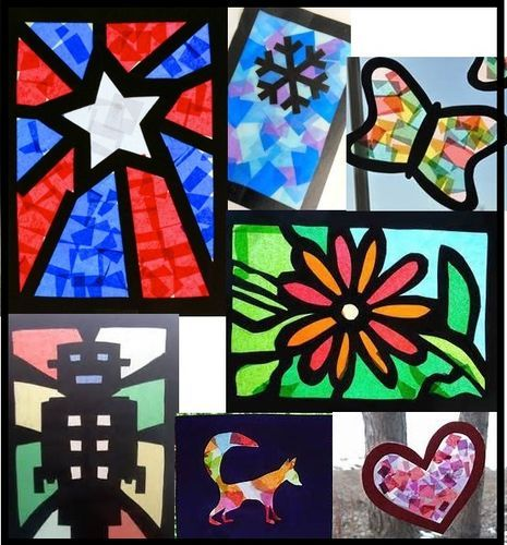 Cellophane craft paper stained glass windows ashhurst for Stained glass window craft with tissue paper