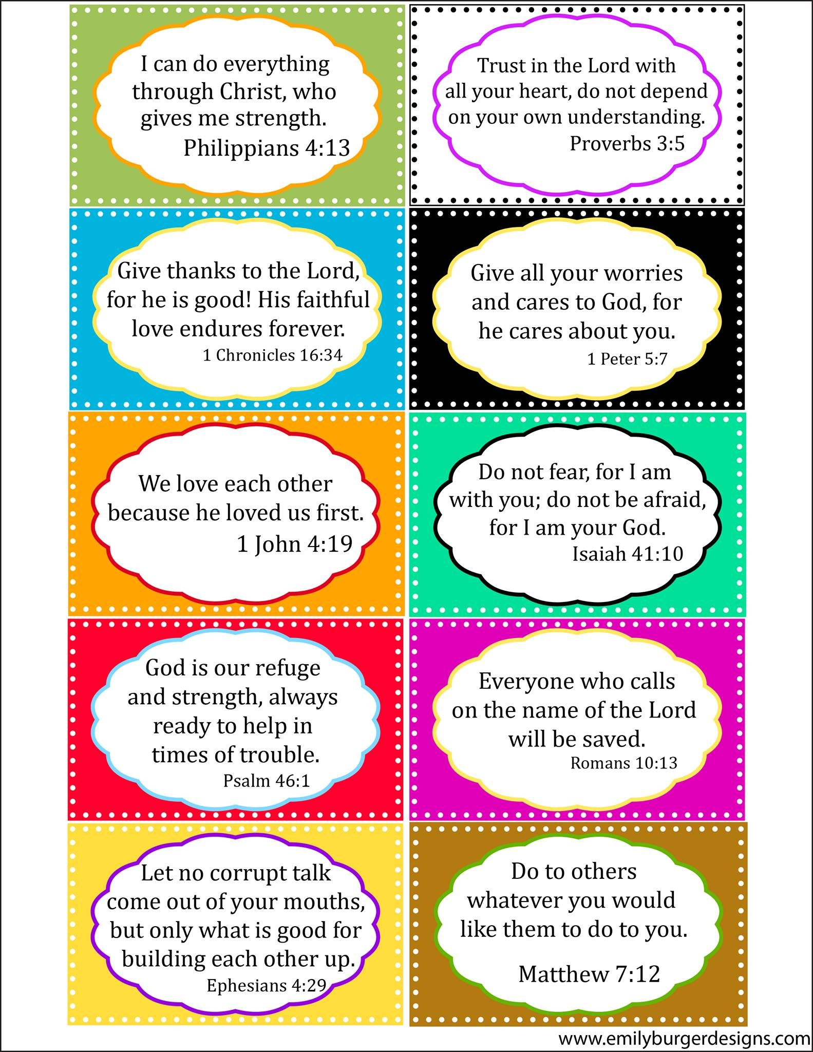 scripture cards to use with the kids www emilyburgerdesigns com