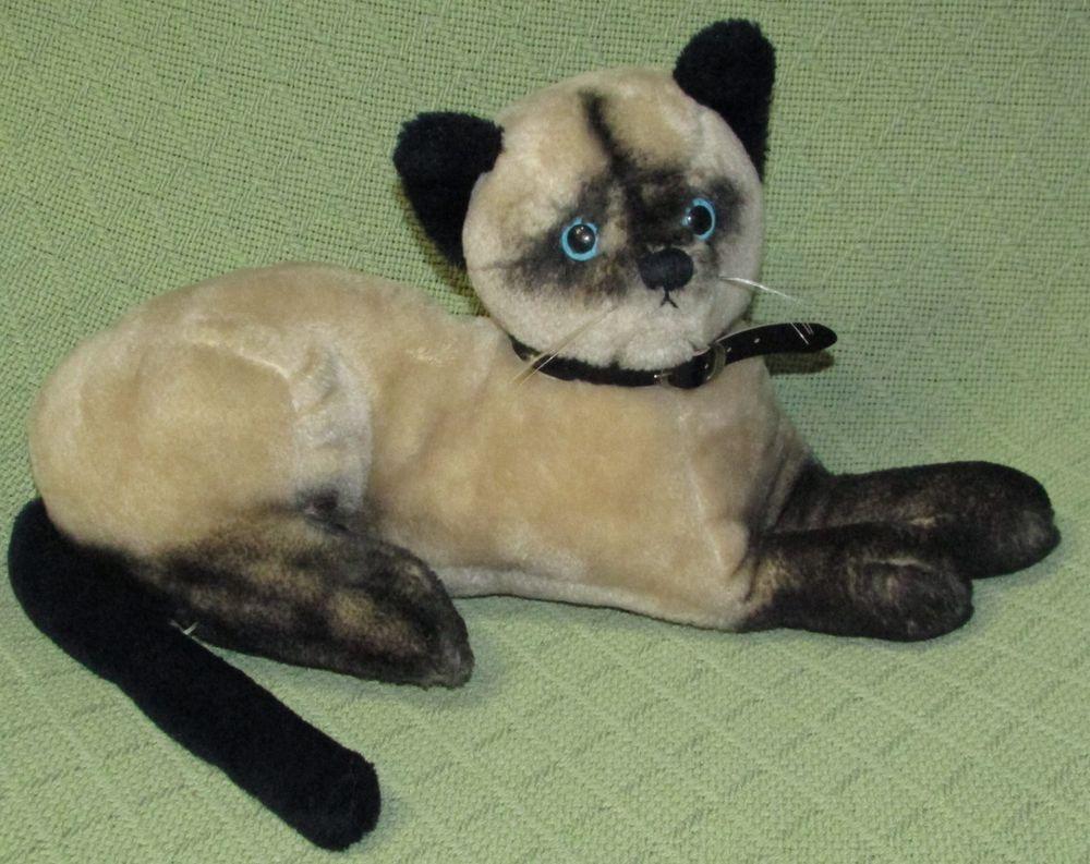 "Vintage Dakin SIAMESE CAT 14"" Black Tan Blue Eyes Collar Plush Stuffed LIFELIKE #Dakin"