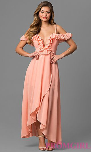 Deep V Neck Ruffled Cold Shoulder High Low Dress My Future Maids
