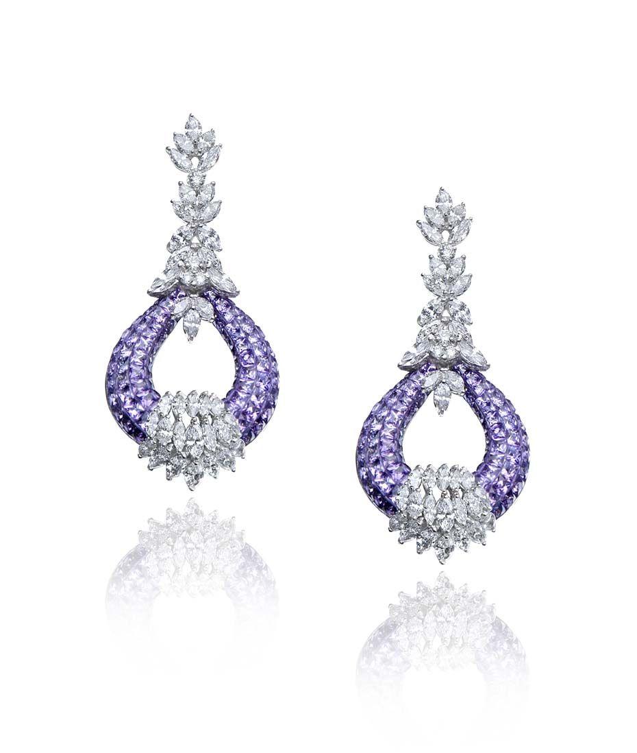 Farah Khan amethyst and diamond chandelier earrings. | farah khan ...