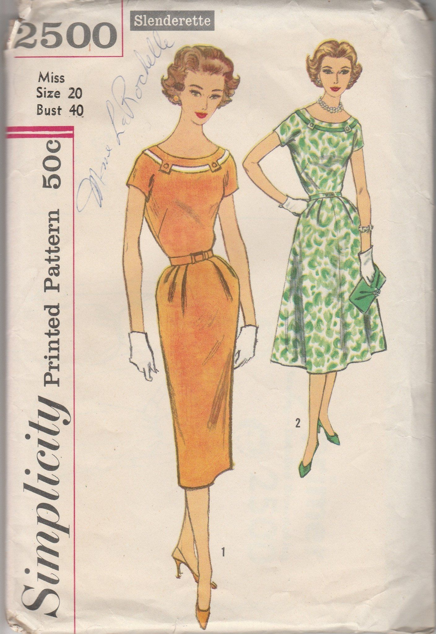 Simplicity 2500 ladies sheath dress vintage 1950s sewing pattern simplicity 2500 ladies sheath dress vintage 1950s sewing pattern slenderette jeuxipadfo Choice Image