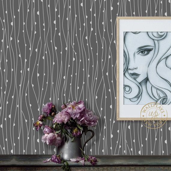 Modern Abstract Pattern Grey Removable Wallpaper Peel
