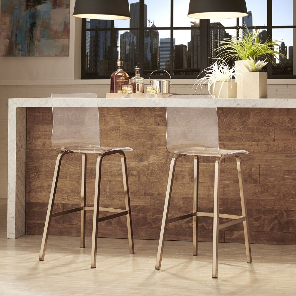 Miles Clear Acrylic Swivel High Back Bar Stools with Back by INSPIRE Q (Set  of