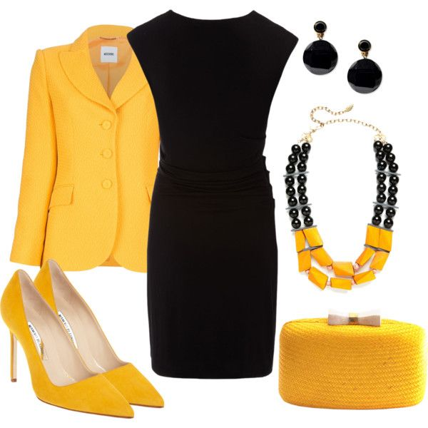 4e84641b010 Black dress and yellow in 2019 | Outfits! | Fashion, Business attire ...
