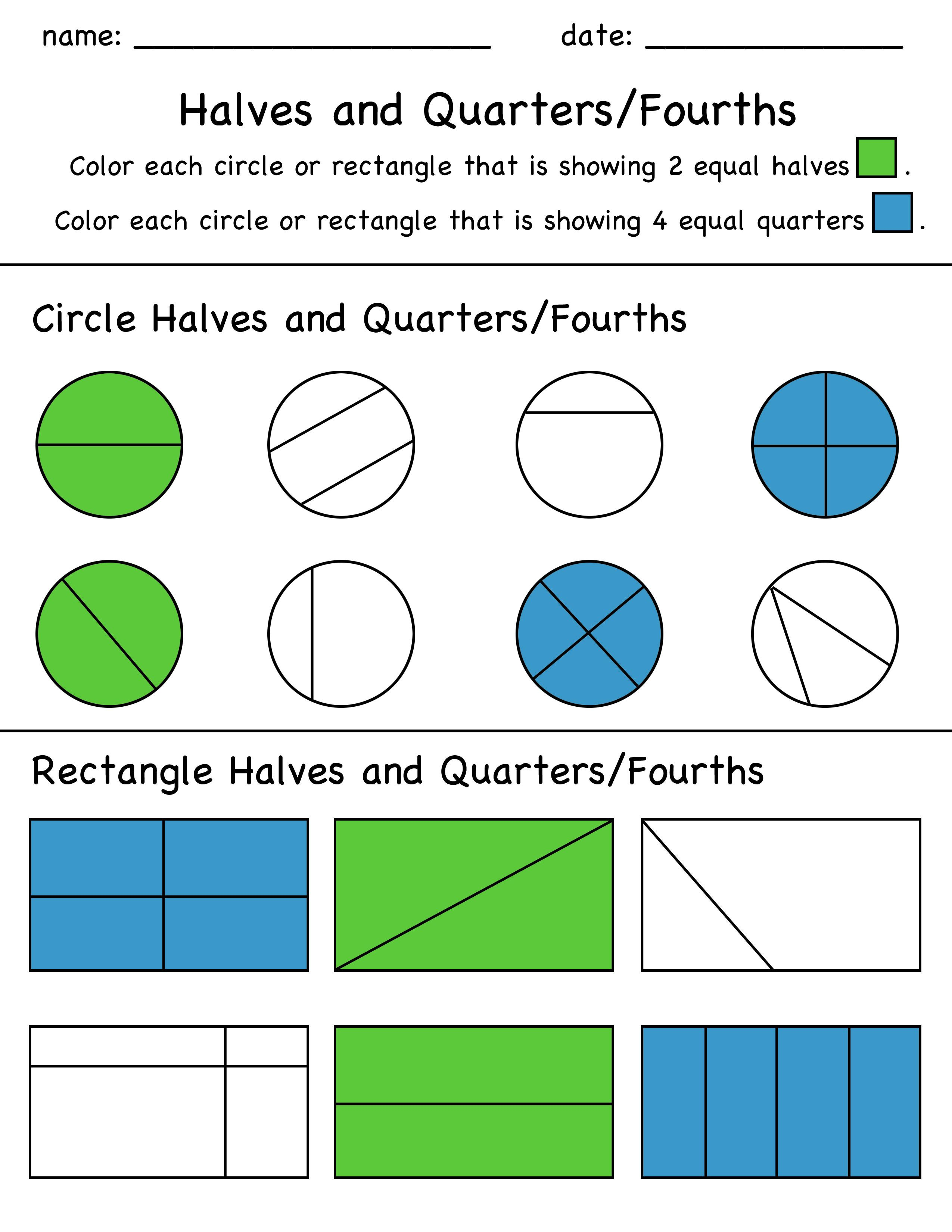 Halves And Quarters Fractions Color In Worksheet