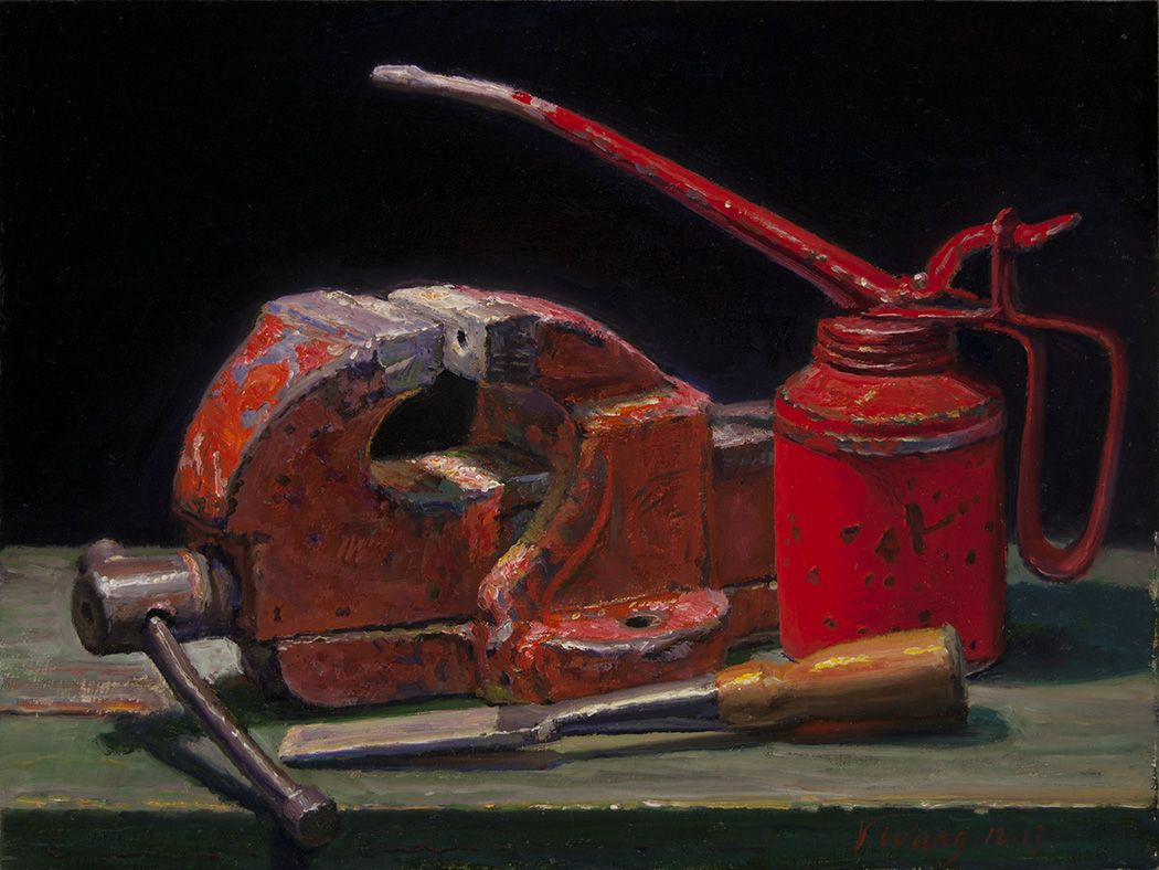 still life tools vise and chisel original oil painting