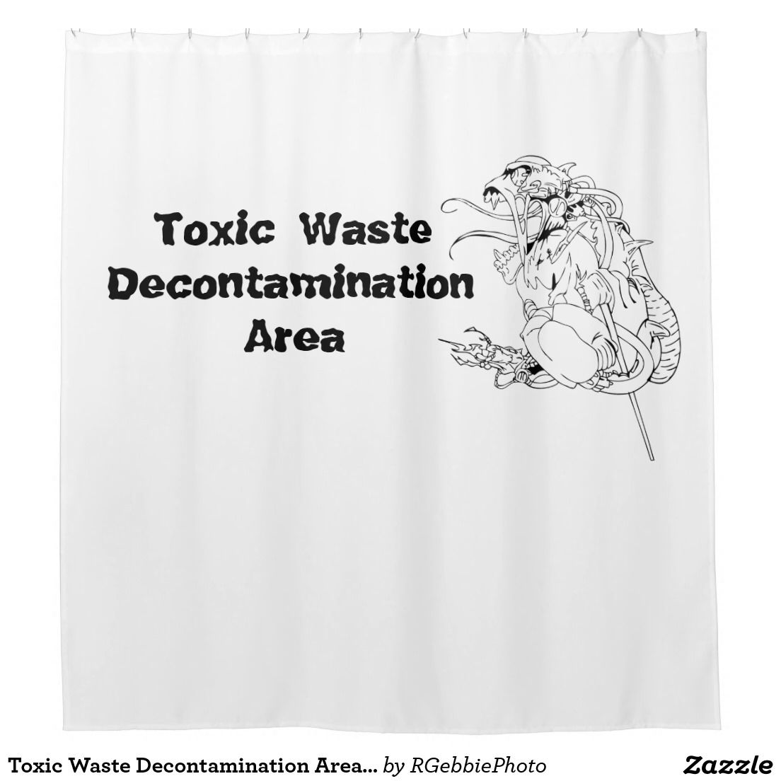 Toxic Waste Decontamination Area With Alien Beast Shower Curtain