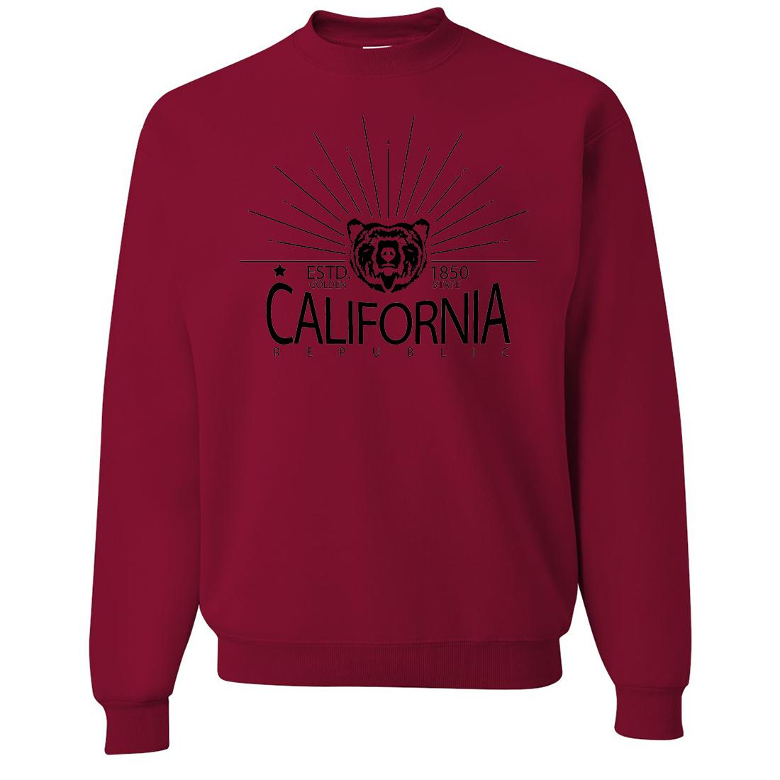 California Golden State Black Print Crewneck Sweatshirt