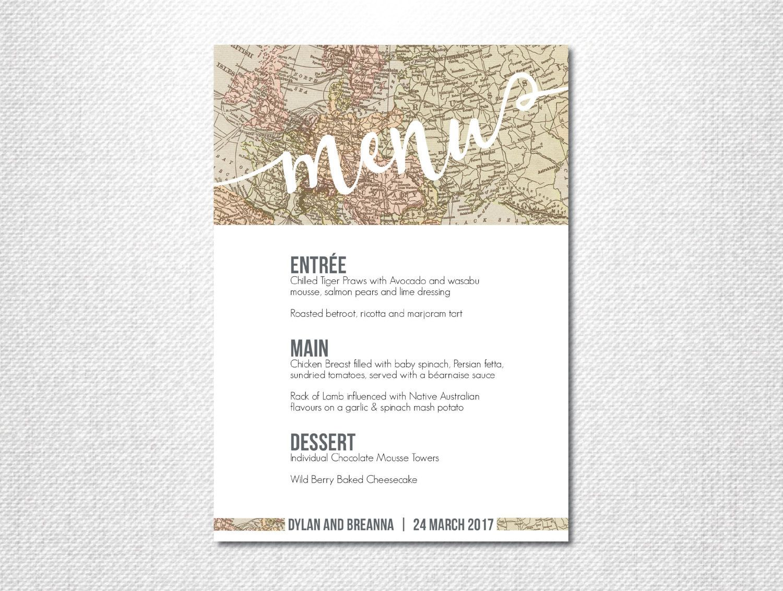 Vintage Map Print ~ Dinner Menu ~ Reception Menu ~ World Map Print ...