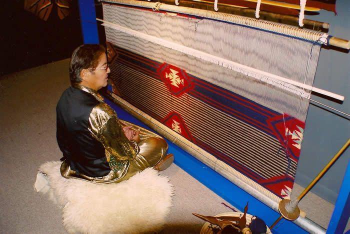 Kathy Marianito demonstrating Navajo Weaving at Museum Opening