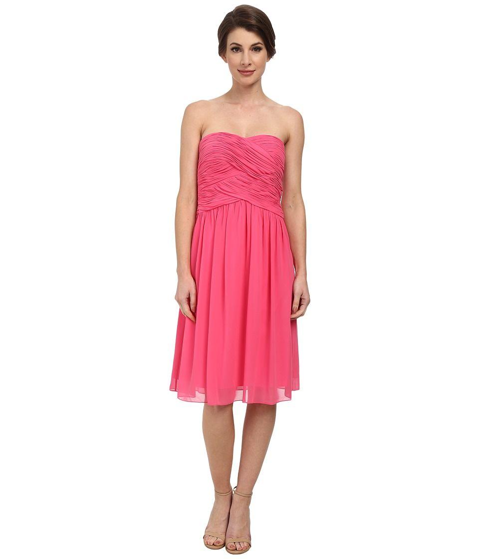 5807eb89801e8 DONNA MORGAN DONNA MORGAN - ANNE SHORT STRAPLESS CHIFFON DRESS (STRAWBERRY)  WOMEN'S DRESS. #donnamorgan #cloth #