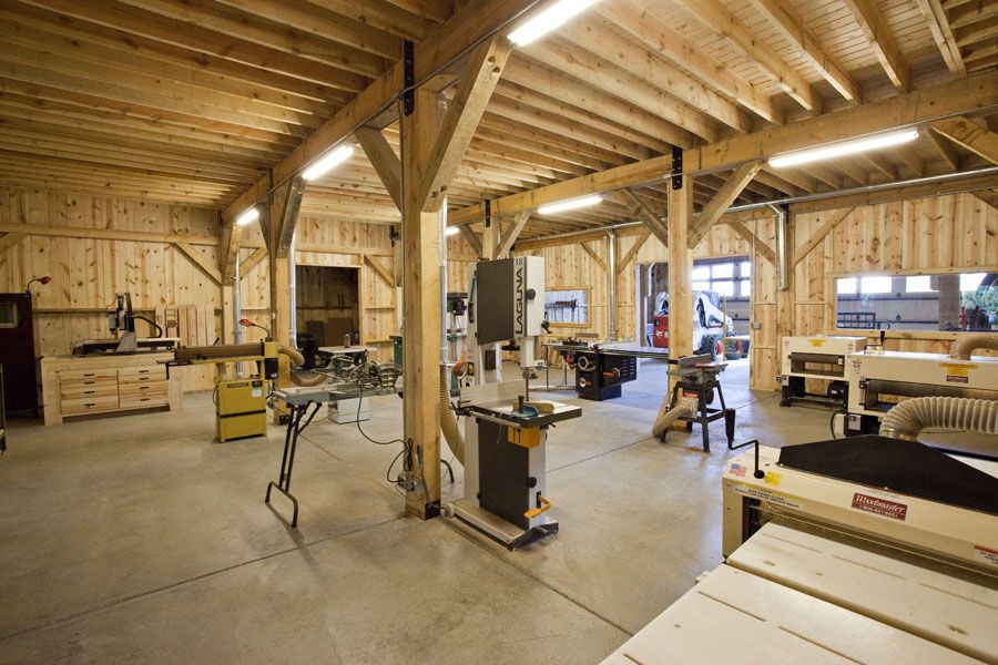Inside of a custom guitar shop for Post and beam shop plans