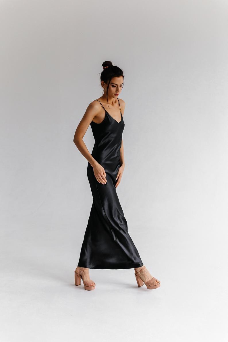 Low Back Black Silk Slip Midi Dress Black Silk Slip Trends Etsy Black Slip Dress Trending Dresses Black Midi Dress [ 1191 x 794 Pixel ]