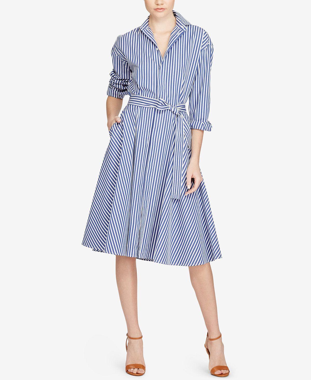 72d5d26a576 Polo Ralph Lauren Striped Cotton Shirtdress - Dresses - Women - Macy s