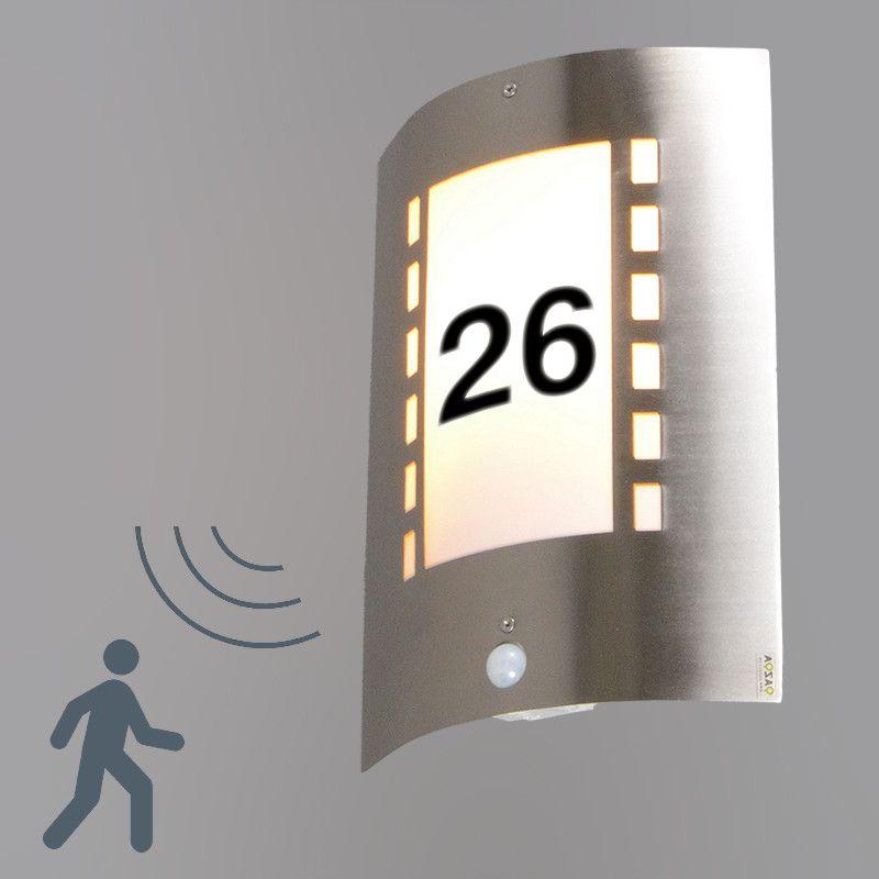Außenleuchte Emmerald Mit Bewegungsmelder Und Hausnummer