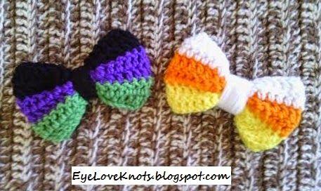 Crochet Large Striped Hair Bow - Candy Corn - FREE Pattern #crochetbowpattern