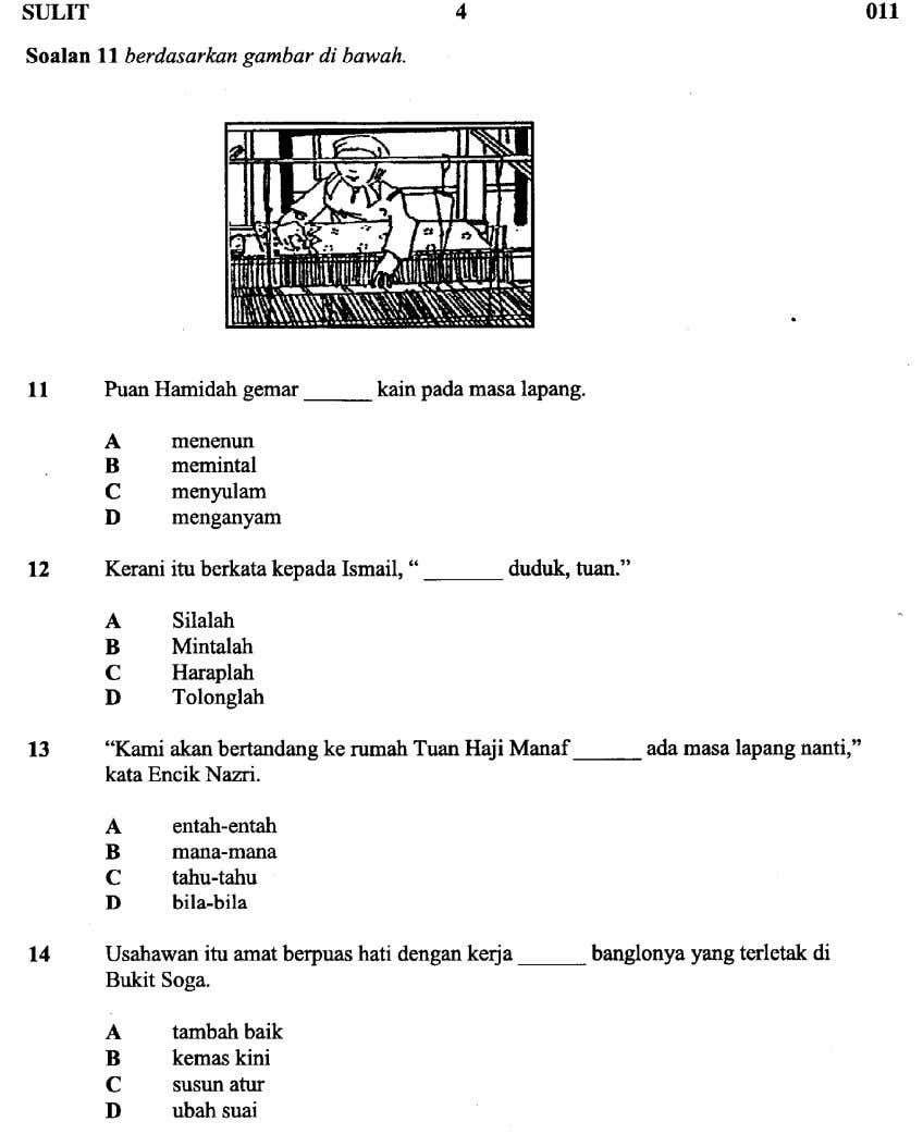 Latihan Bahasa Melayu Kertas 1 Upsr In 2020 School Kids Activities Book Sites Read Online For Free