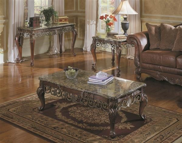 Barcelona Rich Warm Cherry Wood Marble Coffee Table Set Marble