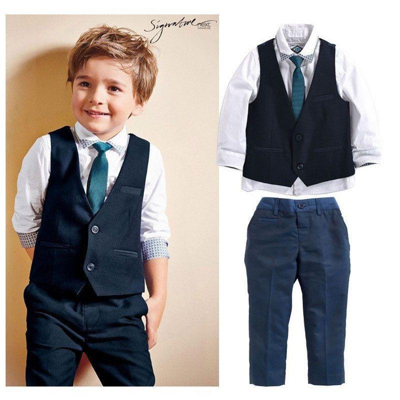 Toddler Clothing Boys Gentleman Wedding Clothes Cotton Kids Vest Shirt Jeans Suits Children Baby Boy