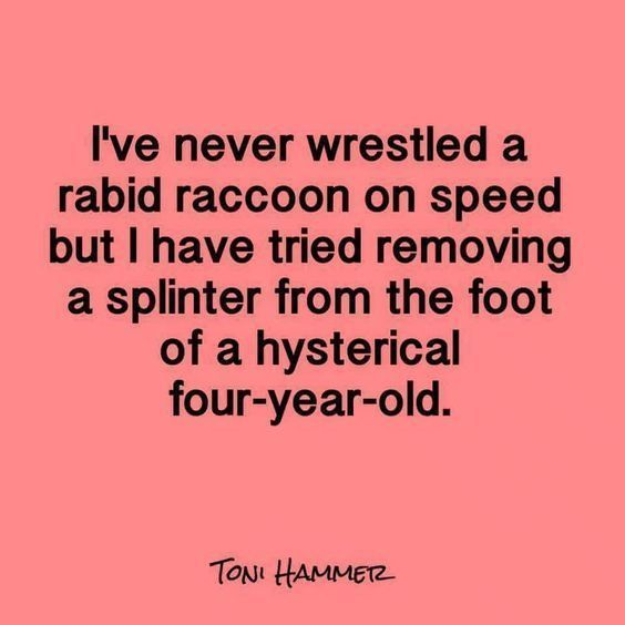 """Best Funny Mom Mom Jokes To Make You Pee Your Pants """"I've never wrestled a rabid raccoon on speed but I have tried removing a splinter from the foot of a hyesterical four-year-old."""" 