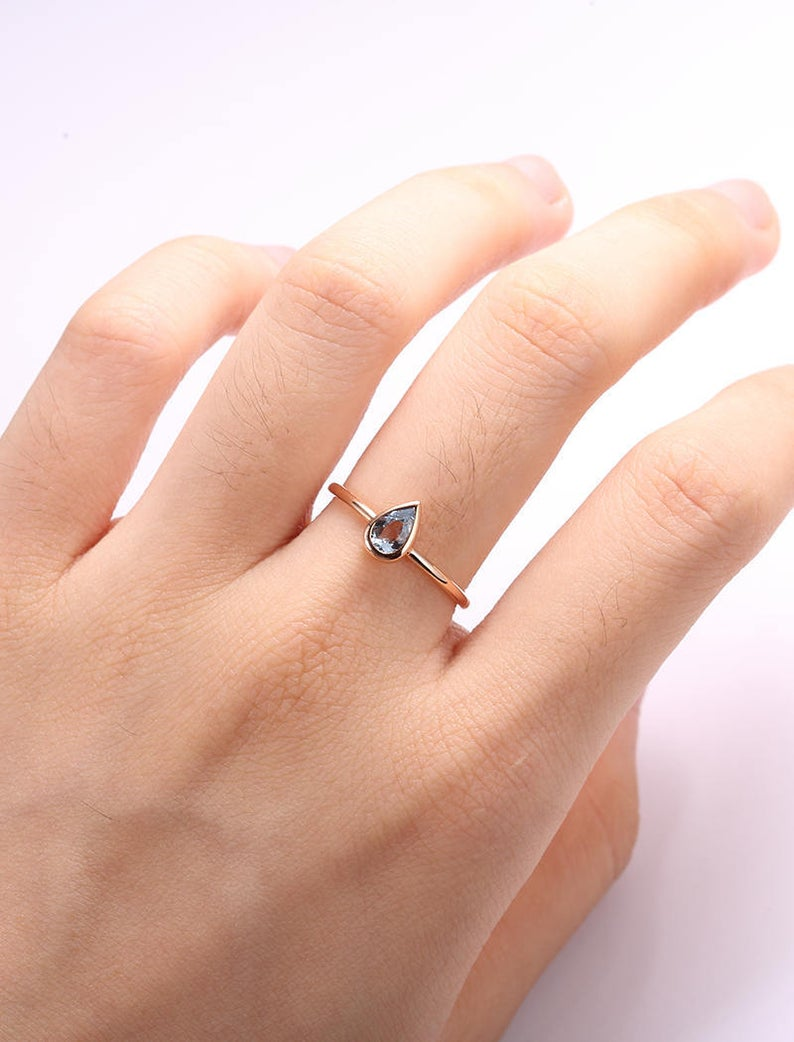 Minimalist Pear shaped engagement ring Simple Aquamarine engagement ring bezel set 14K Gold Thin Dainty Petite Delicate Promise Anniversary  Minimalist Pear shaped engagement ring Simple Aquamarine engagement ring bezel set 14K Gold Thin Da #14K #Anniversary #Aquamarine #Bezel #Dainty #delicate #Engagement #Gold #Minimalist #Pear #Petite #Promise #Ring #Set #shaped #Simple #thin
