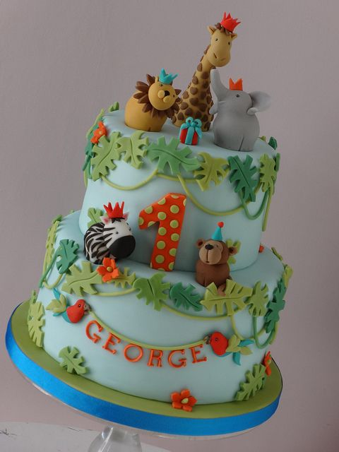 Superb Georges Jungle Safari Cake With Images Birthday Cake Kids Funny Birthday Cards Online Chimdamsfinfo