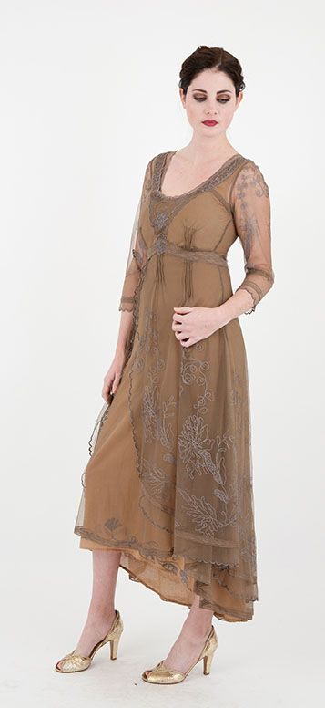 Funky Mother Of The Bride Outfits: Downton Abbey Tea Party Gown In Antique Silver By Nataya