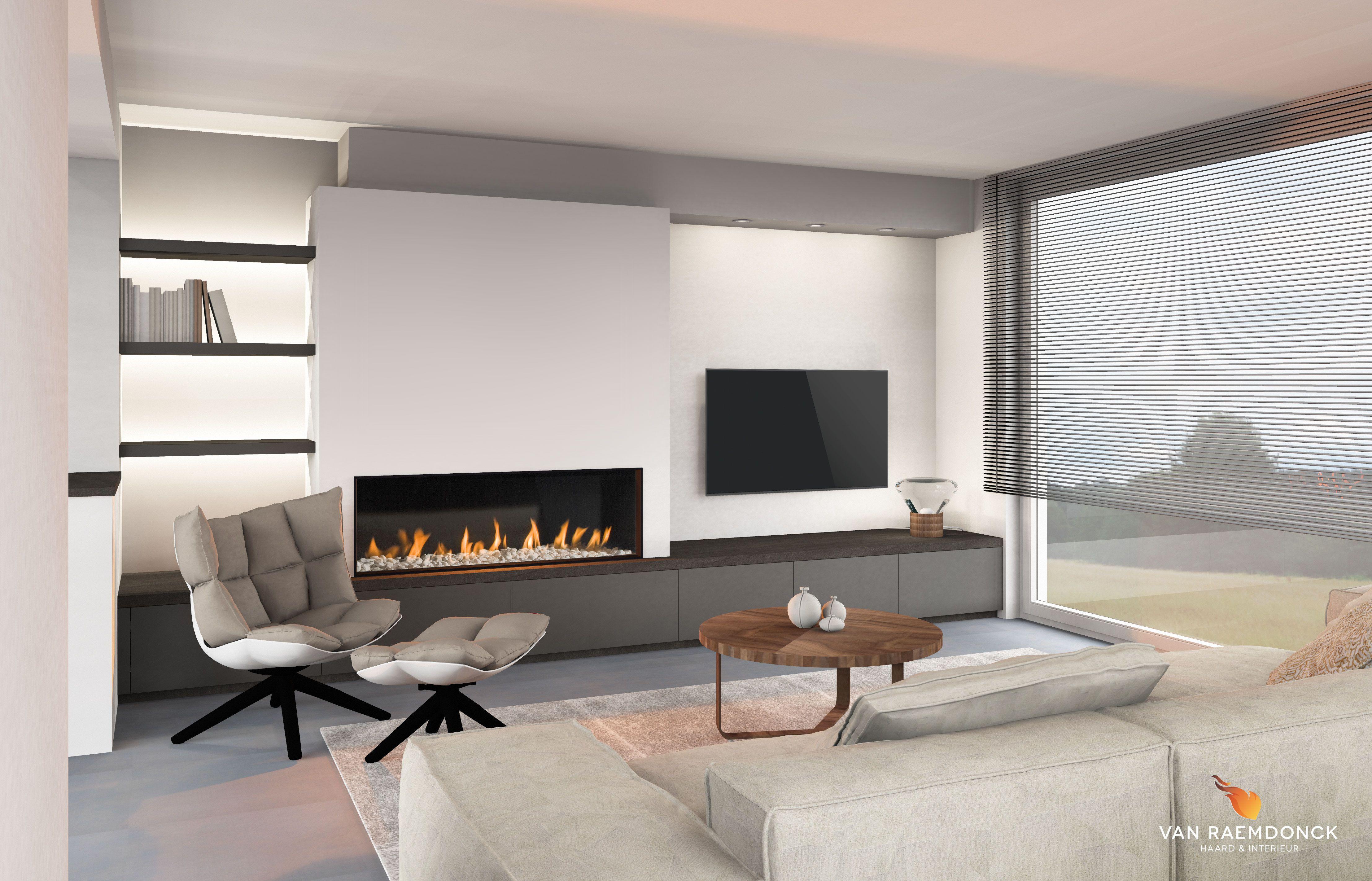 Moderne Gashaard Met Witte Keien In Combinatie Met Een Haardwand  # Moderne Table A Tv