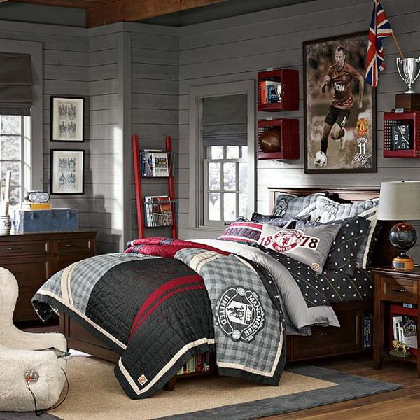 24 Best Football Themed Bedrooms Images On Pinterest: Teenage Boys Room Ideas With Manchester United Bedding