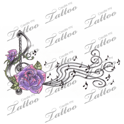 Treble clef rose music notes tattoo design music for Rose tattoo song