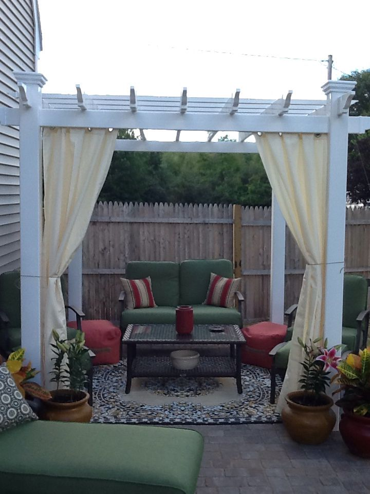 Outdoor Curtains From Target Hanging On A Shower Curtain Tension Rod Loving My Patio 3 Outdoor Curtains Patio Home Decor