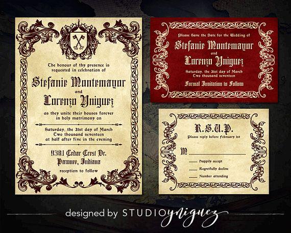 Medieval Wedding Printable Invitation Suite Renaissance Printable