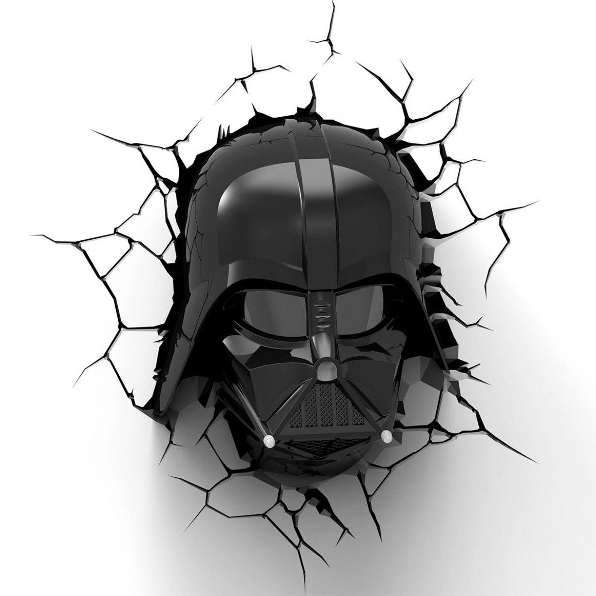 Star Wars 3D-Wandleuchten mit den Köpfen von Darth Vader und Jedi ...
