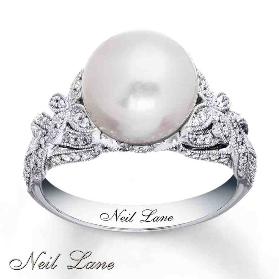 White Gold Pearl Engagement Rings Pearl Wedding Ring Cultured Pearl Ring Pearl Engagement Ring