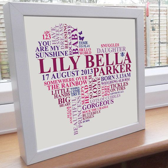 New baby girl gift. Personalised Heart Word Art. Nursery picture ...