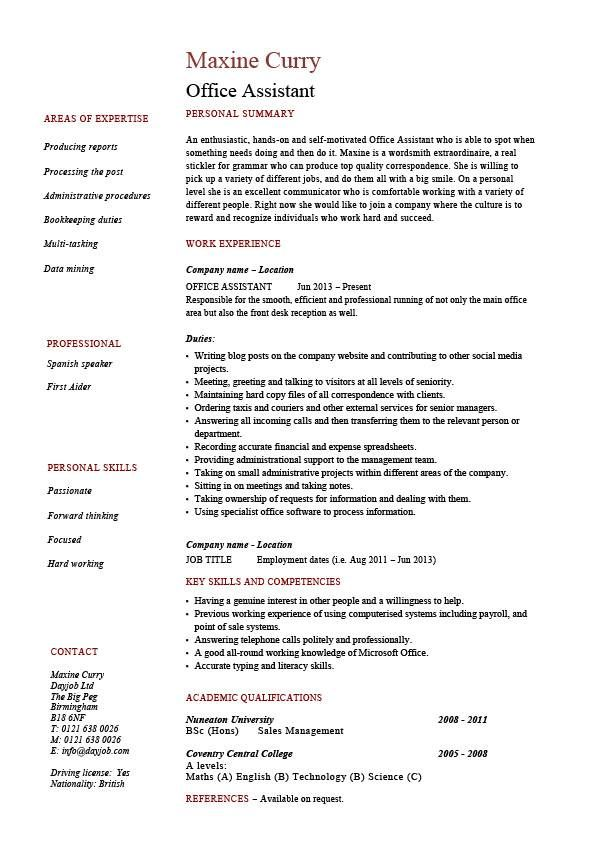 office assistant resume  administration  example  sample  references  tying  staff  work